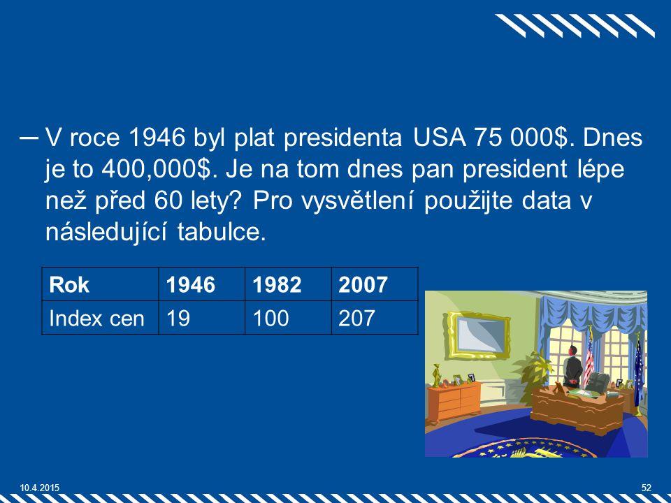 V roce 1946 byl plat presidenta USA 75 000$. Dnes je to 400,000$