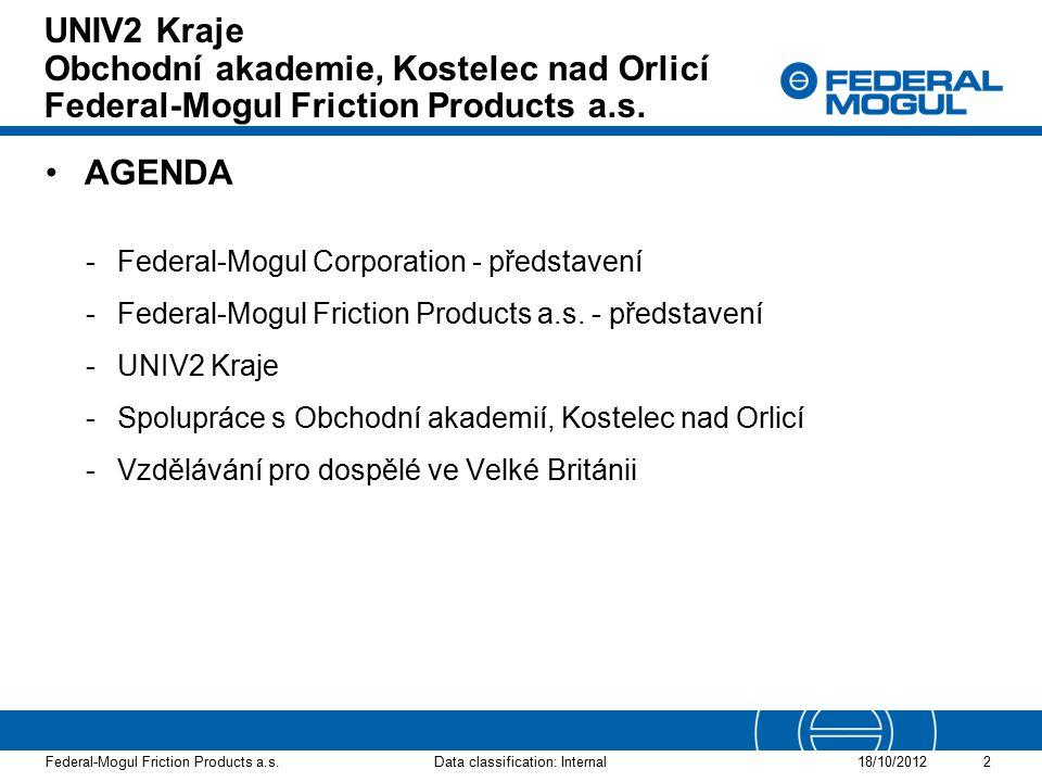 UNIV2 Kraje Obchodní akademie, Kostelec nad Orlicí Federal-Mogul Friction Products a.s.