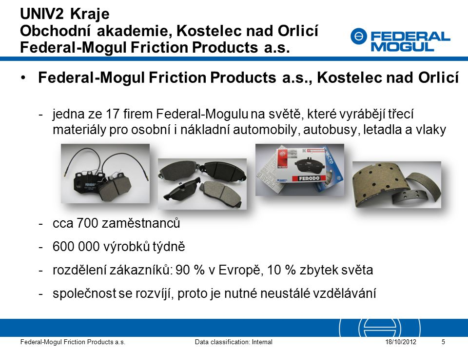 Federal-Mogul Friction Products a.s., Kostelec nad Orlicí