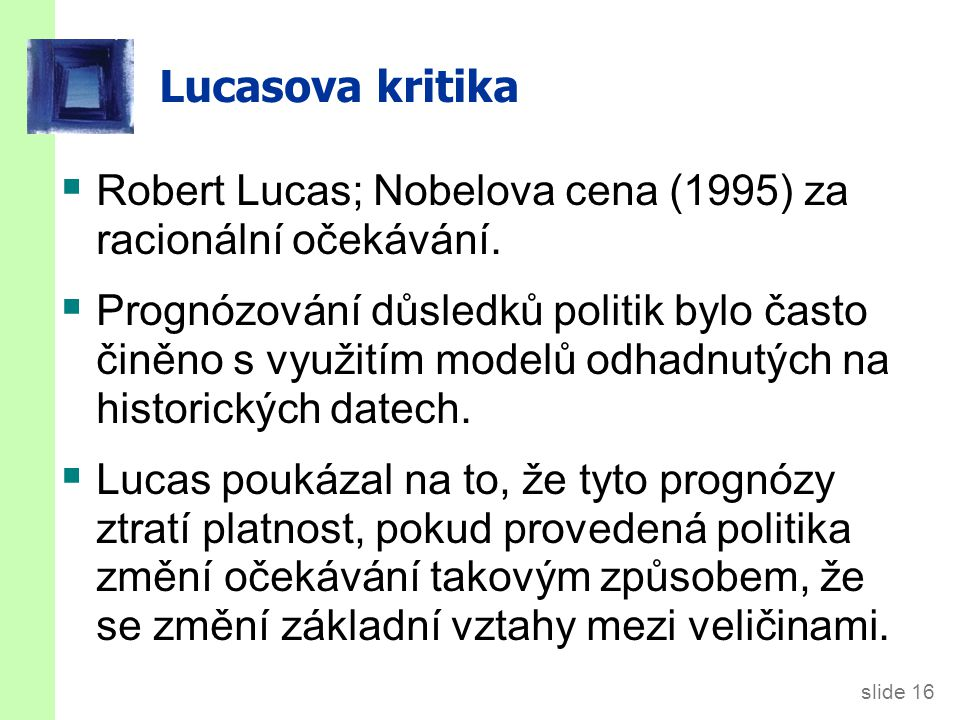 Příklad Lucasovy kritiky
