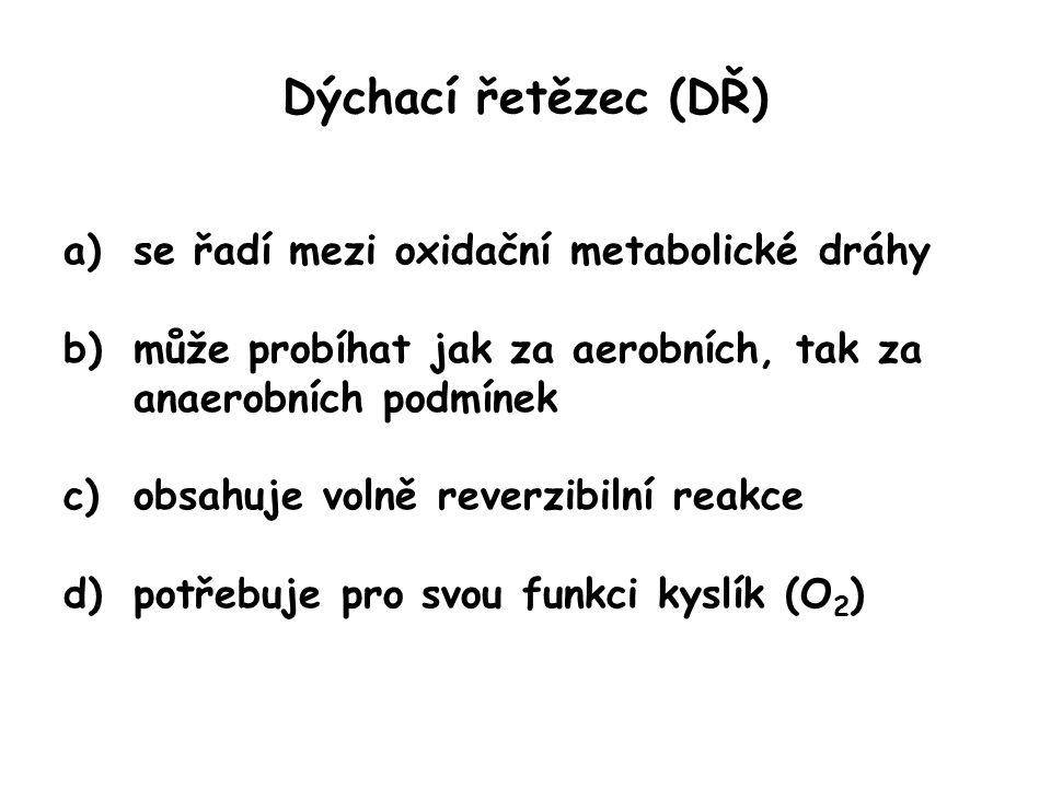 Dýchací řetězec (DŘ) se řadí mezi oxidační metabolické dráhy