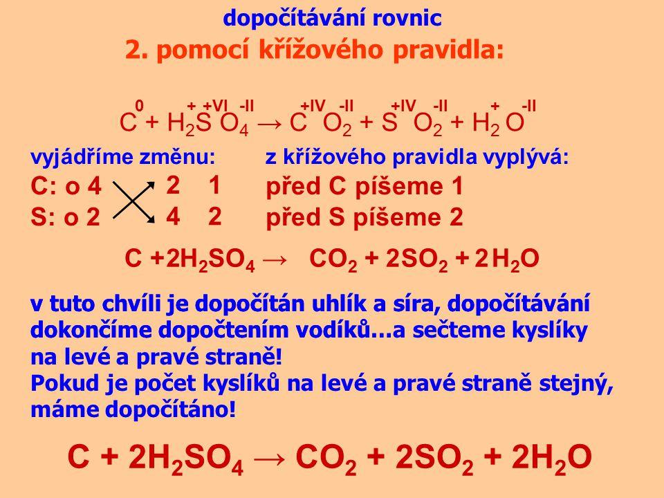 C + 2H2SO4 → CO2 + 2SO2 + 2H2O 2. pomocí křížového pravidla: