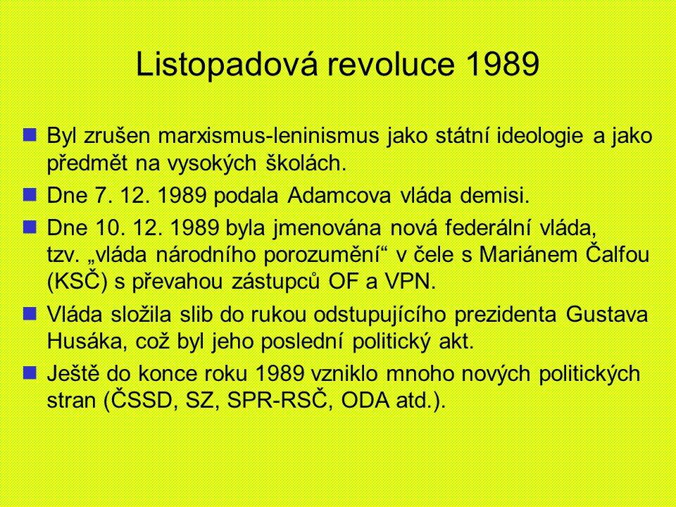 Listopadová revoluce 1989 Byl zrušen marxismus-leninismus jako státní ideologie a jako předmět na vysokých školách.