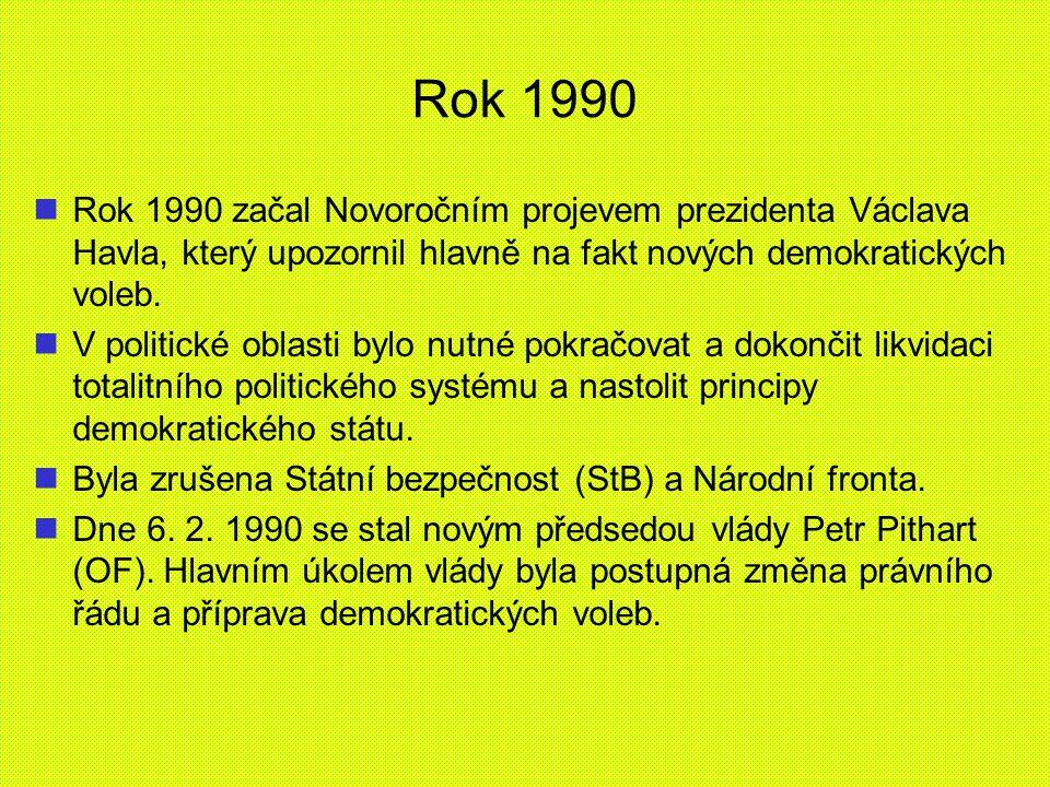 Rok 1990 Rok 1990 začal Novoročním projevem prezidenta Václava Havla, který upozornil hlavně na fakt nových demokratických voleb.