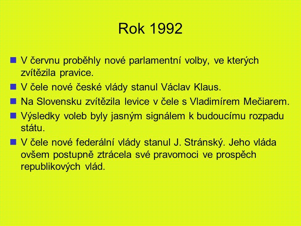 Rok 1992 V červnu proběhly nové parlamentní volby, ve kterých zvítězila pravice. V čele nové české vlády stanul Václav Klaus.