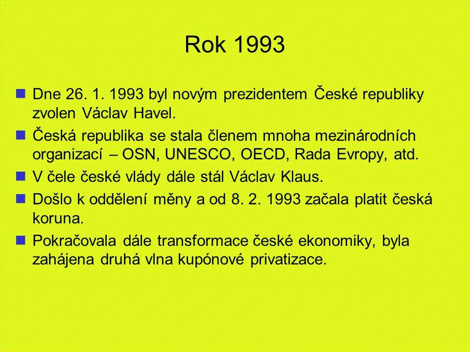 Rok 1993 Dne 26. 1. 1993 byl novým prezidentem České republiky zvolen Václav Havel.