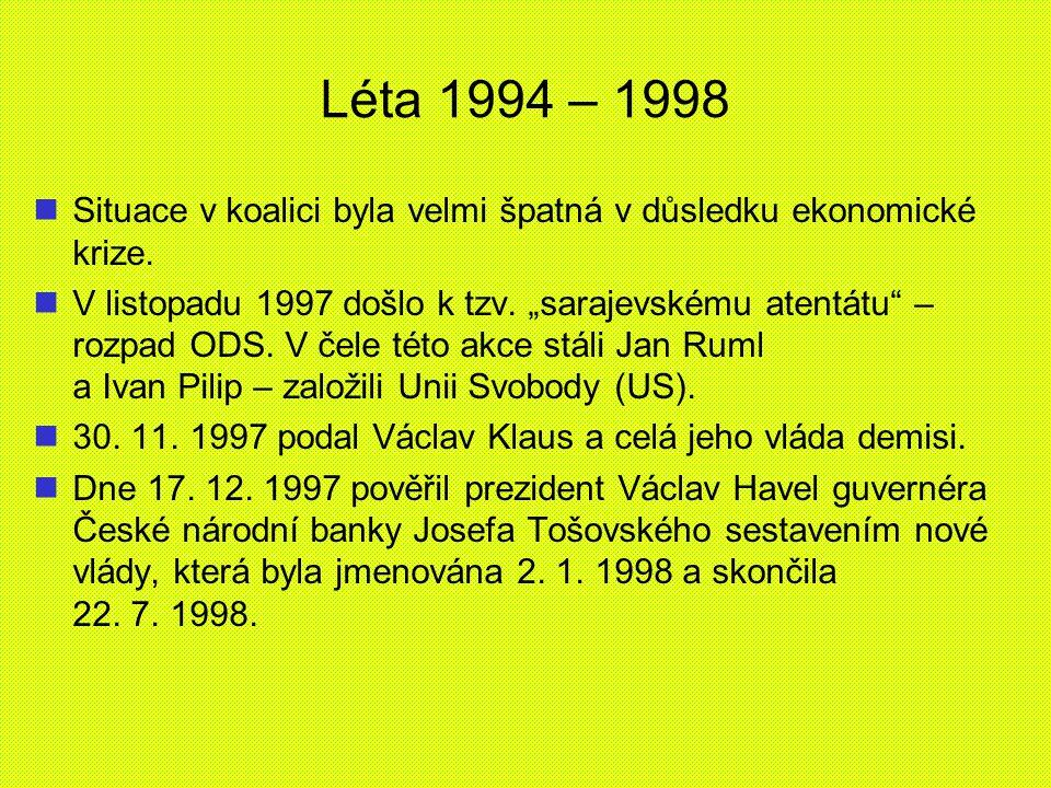 Léta 1994 – 1998 Situace v koalici byla velmi špatná v důsledku ekonomické krize.