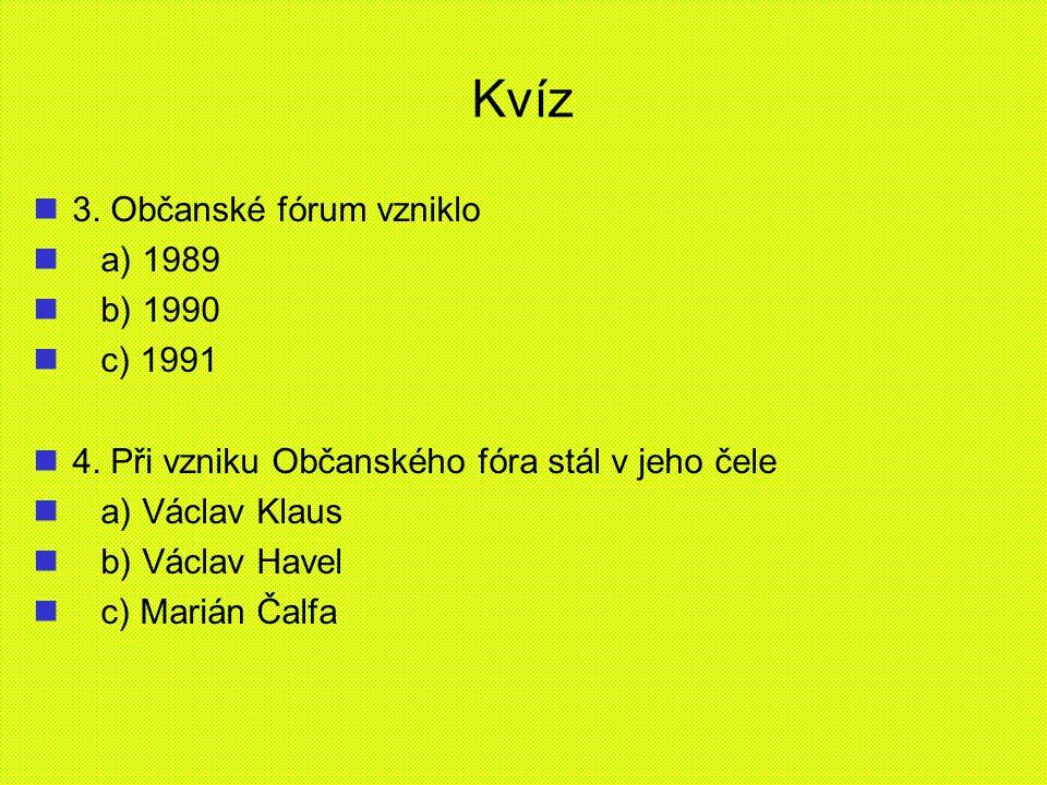 Kvíz 3. Občanské fórum vzniklo a) 1989 b) 1990 c) 1991
