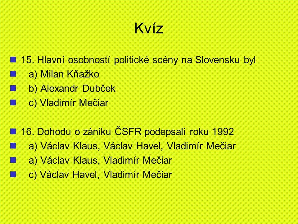 Kvíz 15. Hlavní osobností politické scény na Slovensku byl