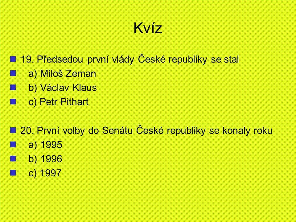 Kvíz 19. Předsedou první vlády České republiky se stal a) Miloš Zeman