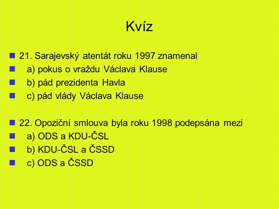 Kvíz 21. Sarajevský atentát roku 1997 znamenal