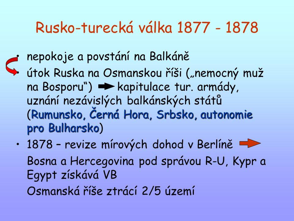 Rusko-turecká válka 1877 - 1878 nepokoje a povstání na Balkáně