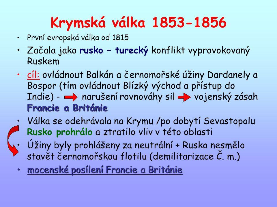 Krymská válka 1853-1856 První evropská válka od 1815. Začala jako rusko – turecký konflikt vyprovokovaný Ruskem.