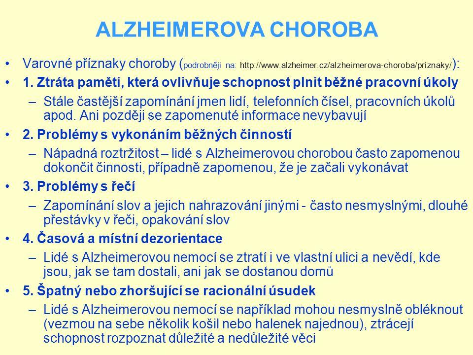 ALZHEIMEROVA CHOROBA Varovné příznaky choroby (podrobněji na: http://www.alzheimer.cz/alzheimerova-choroba/priznaky/):