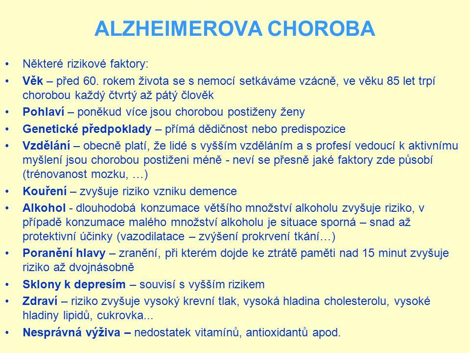 ALZHEIMEROVA CHOROBA Některé rizikové faktory: