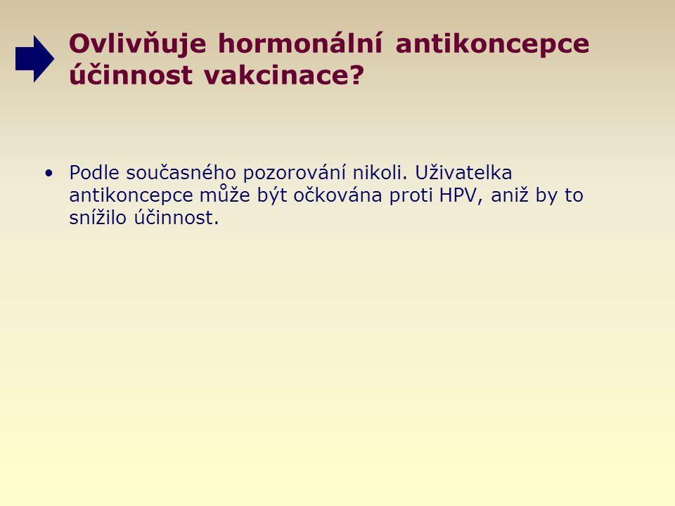 Ovlivňuje hormonální antikoncepce účinnost vakcinace