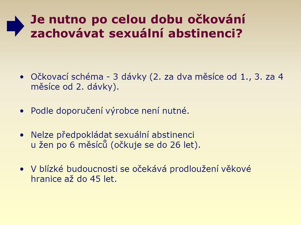 Je nutno po celou dobu očkování zachovávat sexuální abstinenci