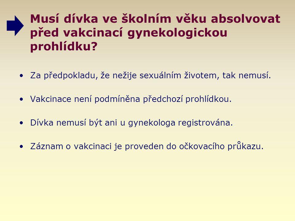 Musí dívka ve školním věku absolvovat před vakcinací gynekologickou prohlídku