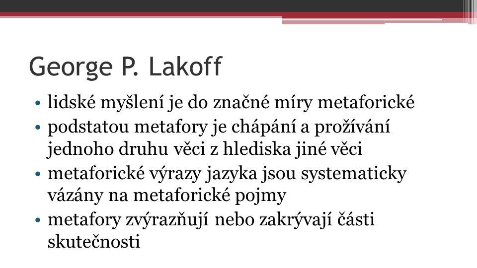 George P. Lakoff lidské myšlení je do značné míry metaforické