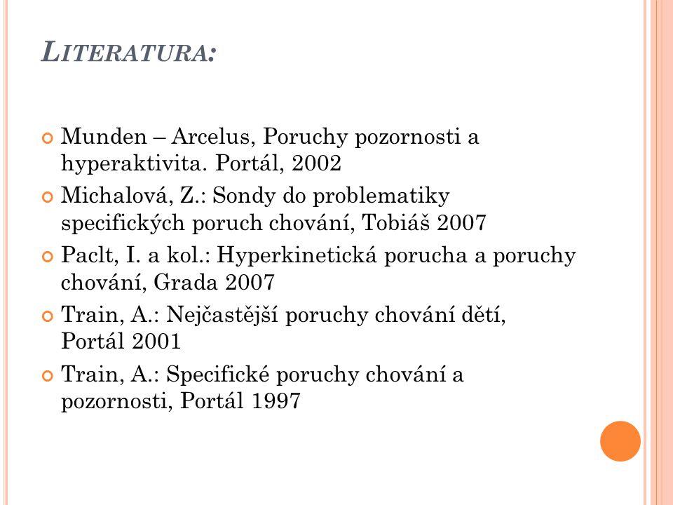 Literatura: Munden – Arcelus, Poruchy pozornosti a hyperaktivita. Portál, 2002.