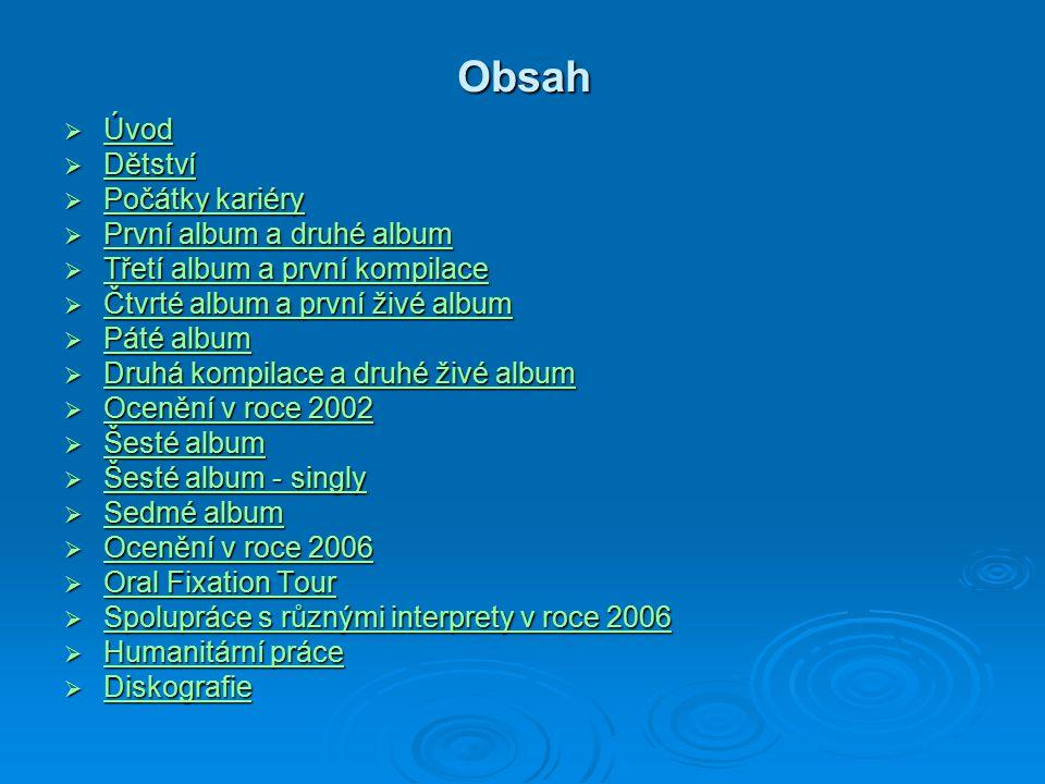 Obsah Úvod Dětství Počátky kariéry První album a druhé album