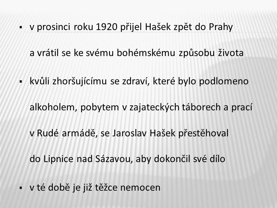 v prosinci roku 1920 přijel Hašek zpět do Prahy a vrátil se ke svému bohémskému způsobu života