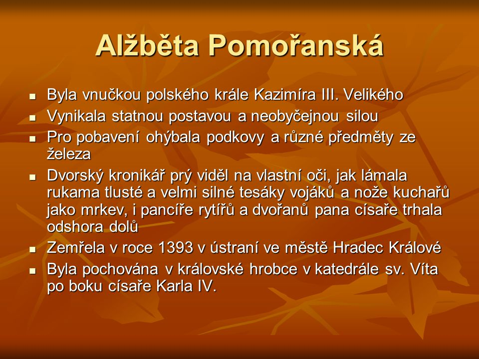 Alžběta Pomořanská Byla vnučkou polského krále Kazimíra III. Velikého
