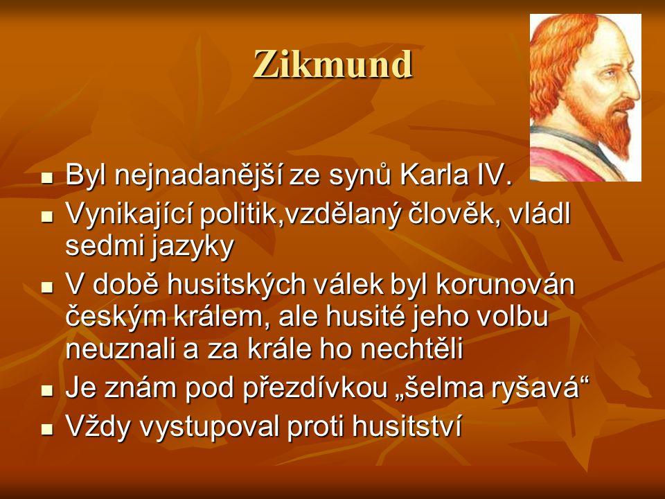 Zikmund Byl nejnadanější ze synů Karla IV.