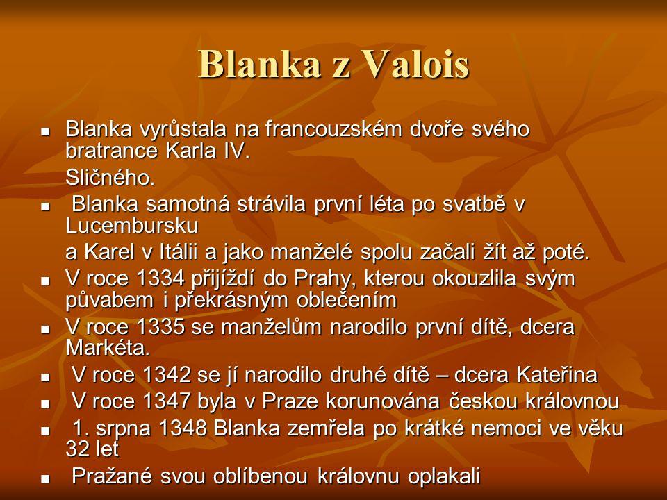 Blanka z Valois Blanka vyrůstala na francouzském dvoře svého bratrance Karla IV. Sličného.