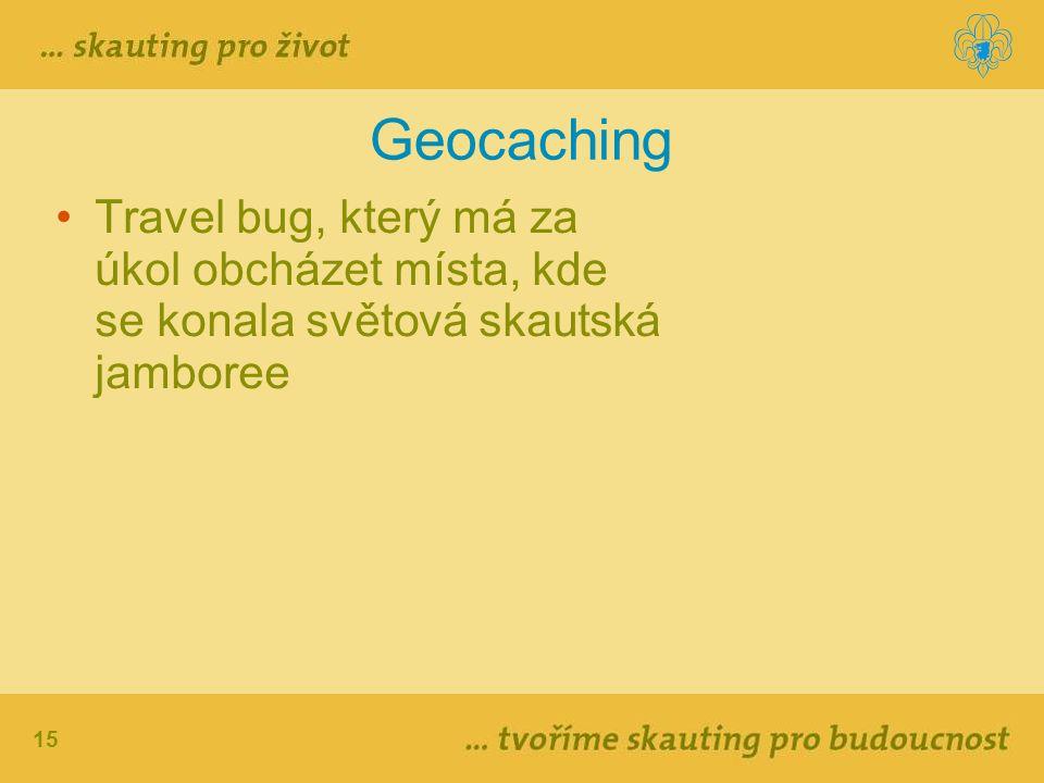 Geocaching Travel bug, který má za úkol obcházet místa, kde se konala světová skautská jamboree
