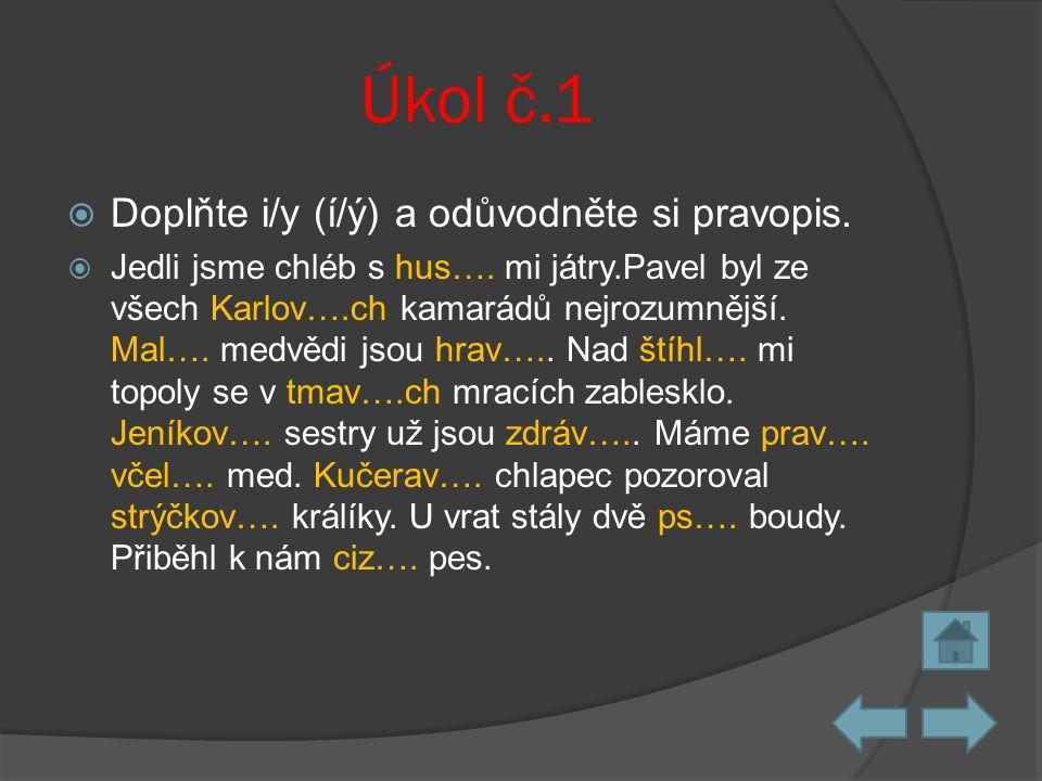 Úkol č.1 Doplňte i/y (í/ý) a odůvodněte si pravopis.