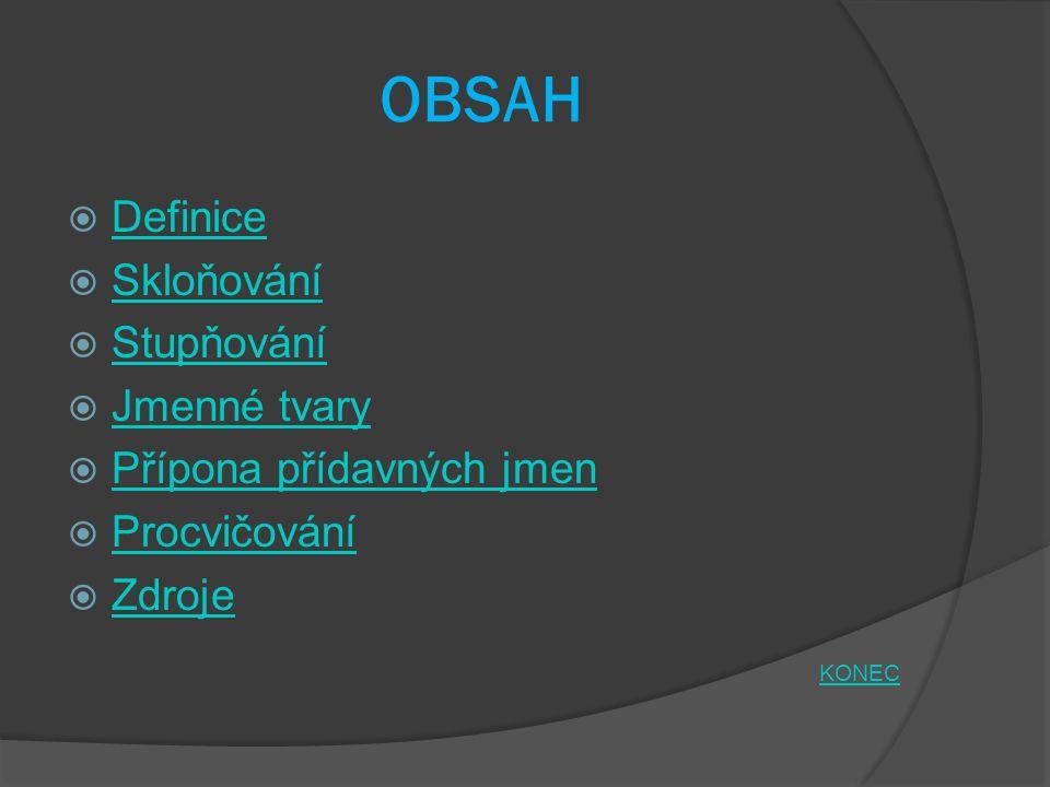 OBSAH Definice Skloňování Stupňování Jmenné tvary