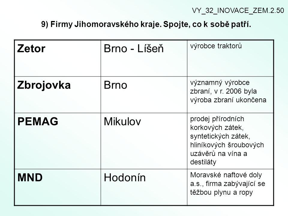 9) Firmy Jihomoravského kraje. Spojte, co k sobě patří.