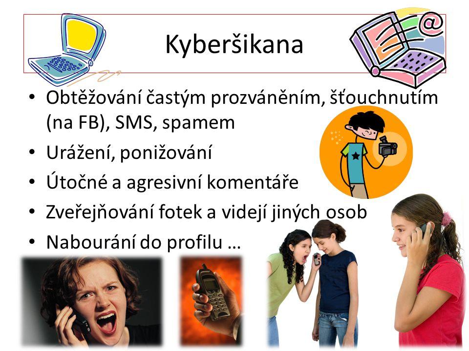 Kyberšikana Obtěžování častým prozváněním, šťouchnutím (na FB), SMS, spamem. Urážení, ponižování. Útočné a agresivní komentáře.