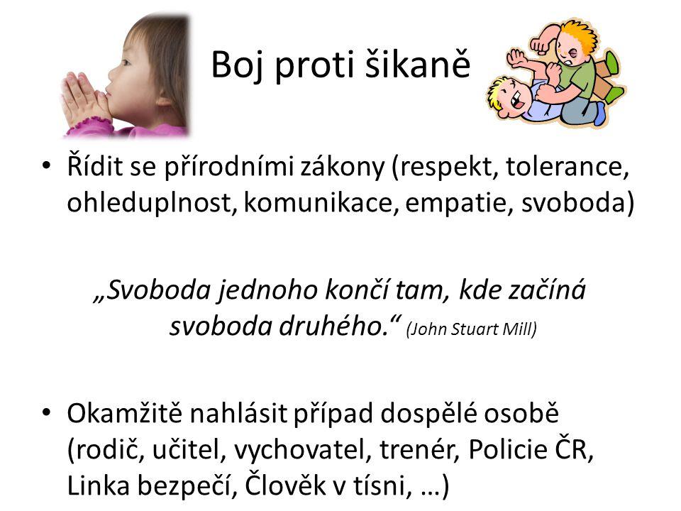 Boj proti šikaně Řídit se přírodními zákony (respekt, tolerance, ohleduplnost, komunikace, empatie, svoboda)