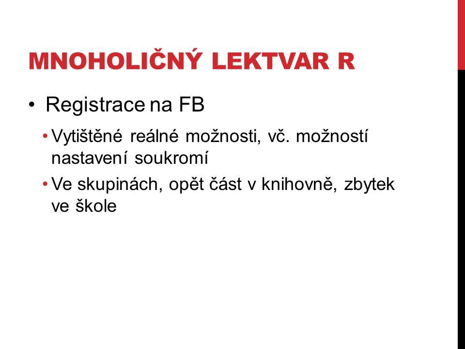 MNOHOLIČNÝ LEKTVAR R Registrace na FB