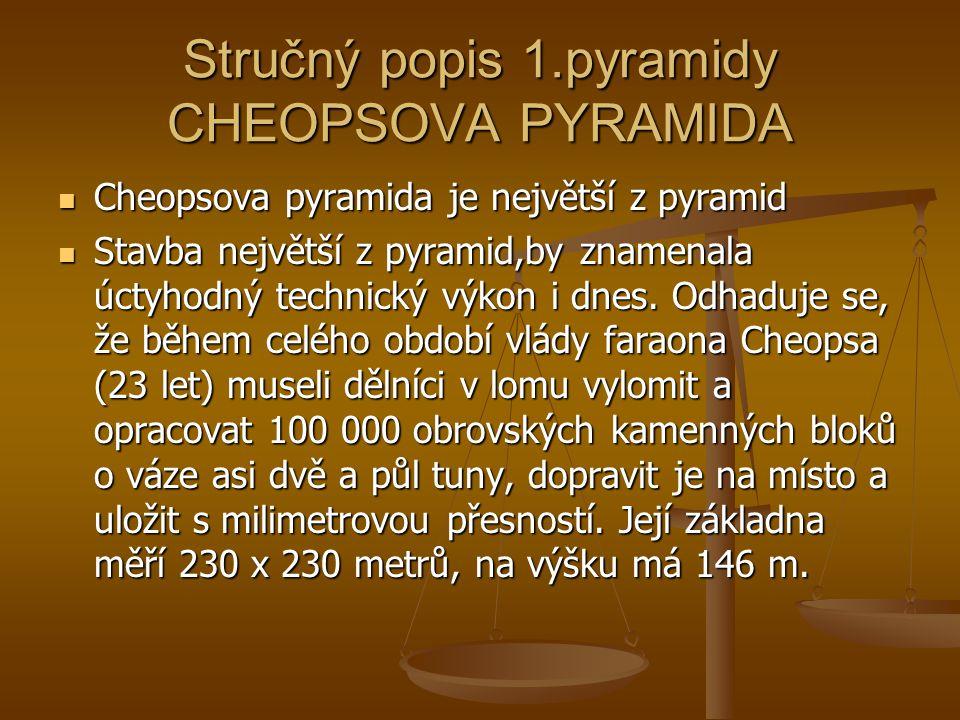 Stručný popis 1.pyramidy CHEOPSOVA PYRAMIDA