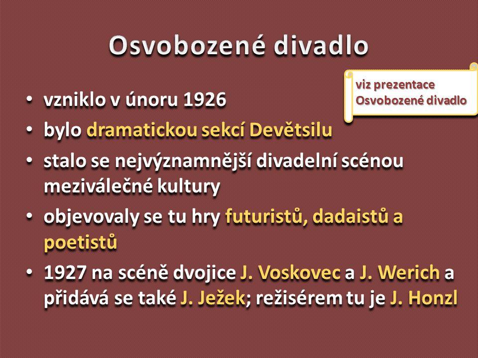 Osvobozené divadlo vzniklo v únoru 1926