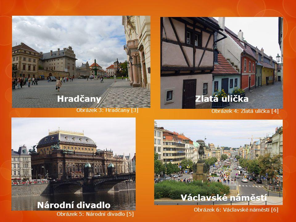 Hradčany Zlatá ulička Václavské náměstí Národní divadlo
