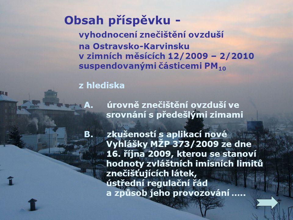 Obsah příspěvku - vyhodnocení znečištění ovzduší