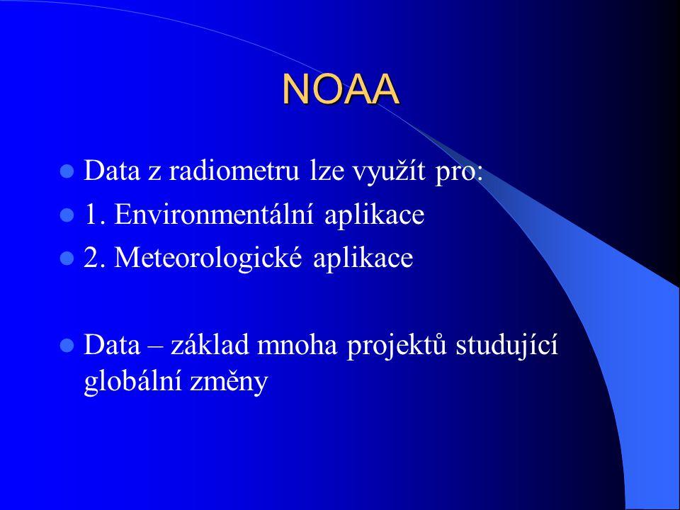 NOAA Data z radiometru lze využít pro: 1. Environmentální aplikace