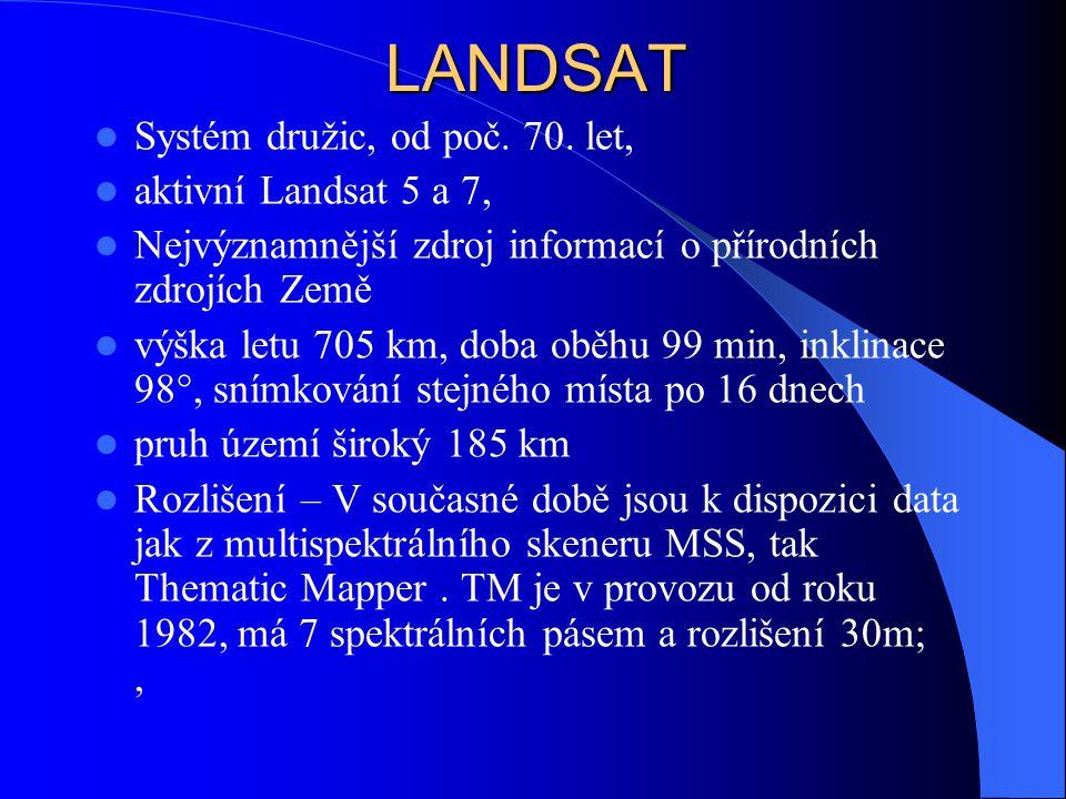 LANDSAT Systém družic, od poč. 70. let, aktivní Landsat 5 a 7,
