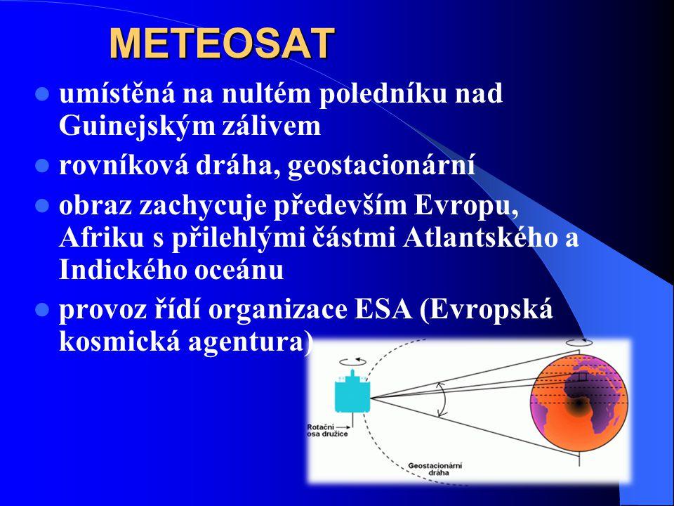 METEOSAT umístěná na nultém poledníku nad Guinejským zálivem