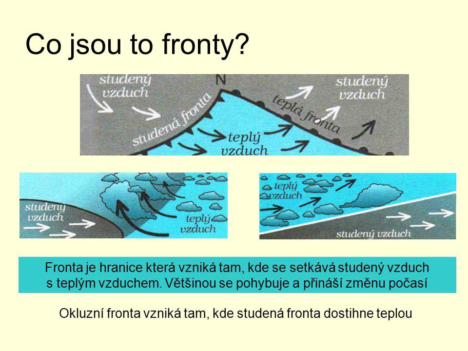 Co jsou to fronty Fronta je hranice která vzniká tam, kde se setkává studený vzduch. s teplým vzduchem. Většinou se pohybuje a přináší změnu počasí.
