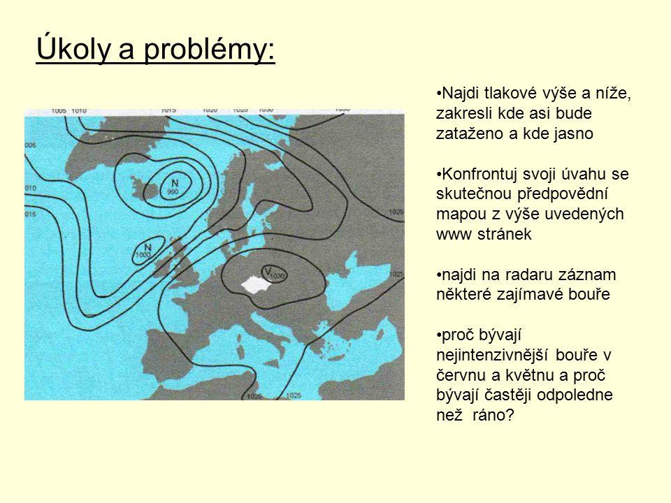 Úkoly a problémy: Najdi tlakové výše a níže, zakresli kde asi bude zataženo a kde jasno.