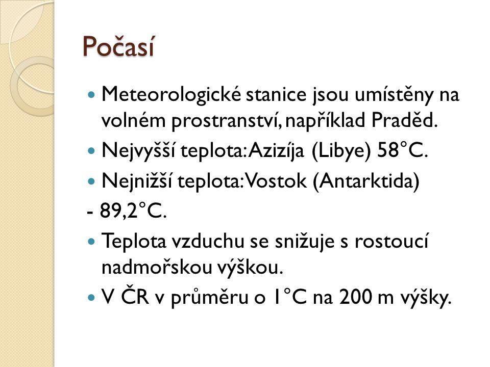 Počasí Meteorologické stanice jsou umístěny na volném prostranství, například Praděd. Nejvyšší teplota: Azizíja (Libye) 58°C.