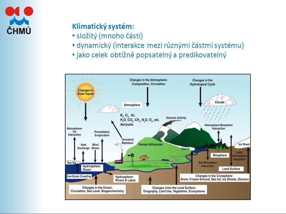 Klimatický systém: složitý (mnoho částí) dynamický (interakce mezi různými částmi systému) jako celek obtížně popsatelný a predikovatelný.