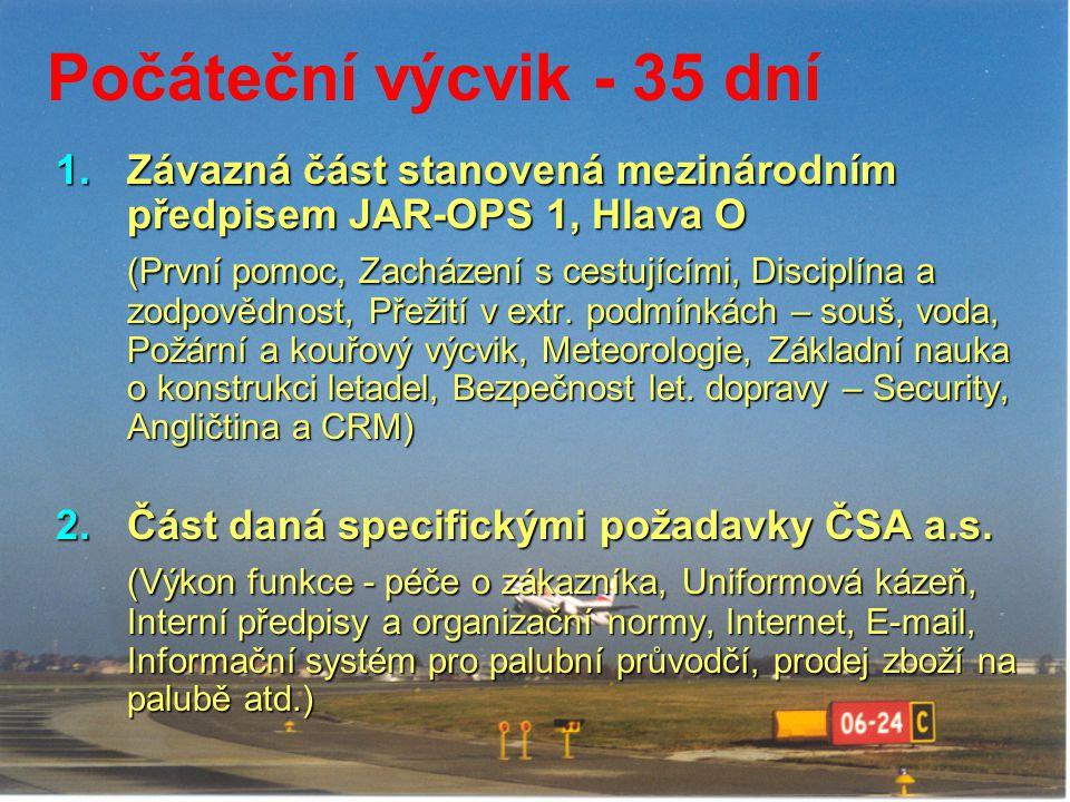 Počáteční výcvik - 35 dní Závazná část stanovená mezinárodním předpisem JAR-OPS 1, Hlava O.