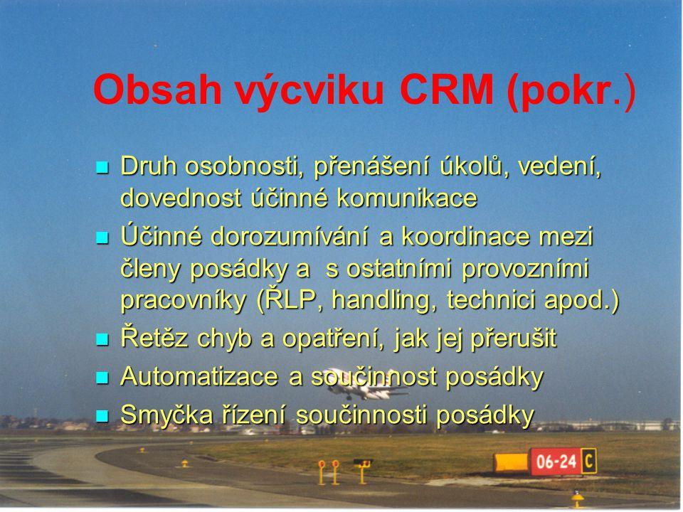 Obsah výcviku CRM (pokr.)