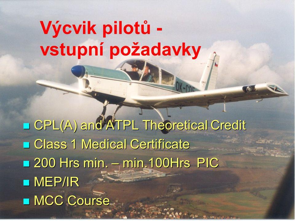 Výcvik pilotů - vstupní požadavky